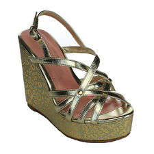 DE BLOSSOM COLLECTION BB75 Women's Sling Back Strappy Platform Wedge Sandals