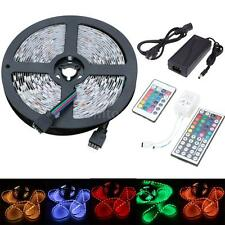 5M 3528 5050 RGB/White 300 SMD Flexible LED Strip Light +Remote + 12V Power Y3O6