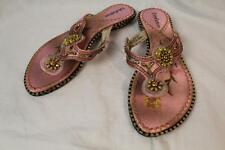 John Fashion 2988 Pink Satin Beaded Embroidery Thong Sandal Shoes Size 7,9  New