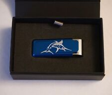 M Clip Ultralight Aluminum Money Clip Made in USA Blue Marlin Etching