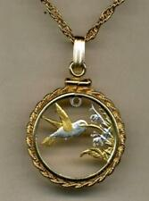 Handcrafted Trinidad & Tobago coin 24k Gold & Silver Plated Hummingbird Necklace