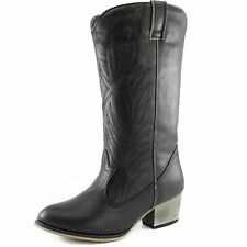Women's Black Knee-High Cowboy Boots Cowgirl Western Embroidered Cheap New Vegan
