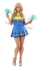 Ladies Cheerleader Outfit & Pom-Poms Fancy Dress Costume Hen Party FREE POST (AC