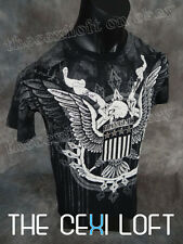 NEW MENS KONFLIC GRAPHIC T-SHIRT EAGLE Black with Silver Foil Highlights UFC MMA