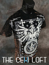 NEW MENS KONFLIC GRAPHIC T-SHIRT Mineral Washed Eagle in Black MMA