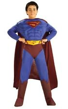 LICENSED DELUXE MUSCLE CHEST SUPERMAN SUPER HERO CHILD BOYS FANCY DRESS COSTUME