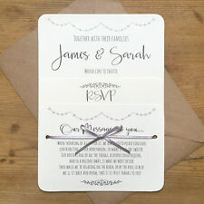 Personalised Wedding Invite Vintage Silver Grey Day/Evening/RSVP/Menu Ivory Card