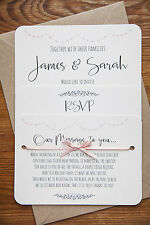 Personalised Wedding Invite Vintage ANY Colour Day/Evening/RSVP/Menu Ivory Card