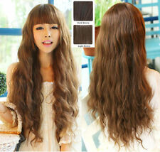 New Womens Long Corn Wavy Curly Hair Brown Neat Bang Style Wig Daily Costume Wig