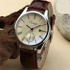 Men's Casual Wrist Watch Stainless Steel Leather Fashion Analog Quartz Sale