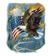 Patriotic T-Shirt, Bale Eagle & American Flag in Wind, Majestic Background, USA