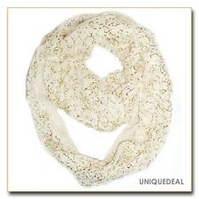 NEW NATURAL SOFT VINTAGE  LIGHT WEIGHT LARGE METALLIC INFINITY SCARF/Ivory JX503