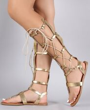 Gold Knee High Lace Up Gladiator Thong Flat Heel Roman Sandals Womens Shoes