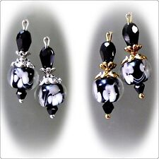 Earrings, Black and White, lampwork and crystal - clip on or pierced fittings