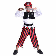 Child Raggy Pirate Party Outfit Fancy Dress Costume Caribbean Kids Boys