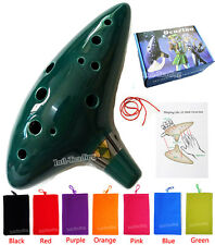 12 Hole Green Legend of Zelda Ocarina of Time Alto C Flute Ceramic Instrument