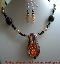 Murano pendant necklace and earrings set boxed