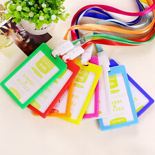 10pcs Plastic Badge Holder W/ Lanyard Office Fashion Vertical ID Name Card Badge