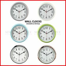 Modern Wall Clock Silent Clocks Retro Kitchen Large Non Ticking Green Blue Grey
