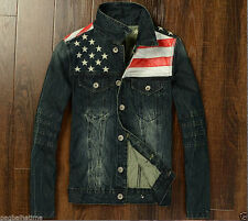 Vintage Punk Men's Denim Jean Jacket Blue American Flag Star Fit Jeans Asia 4XL