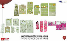 LINEN PRESS Organic Kitchen Apron Tea towel Pot holder & oven Mitt 3 STYLES BNWT