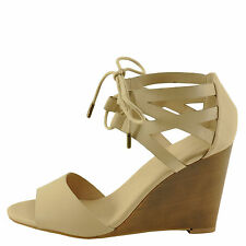 Bamboo Whimsical 01M Nude Women's Double Band Tie Up Wedge Sandal
