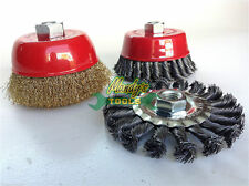3x Angle Grinder Brushes 100mm Twist KNOT & BRASS Cup Wire Brush & 100mm Flat A2