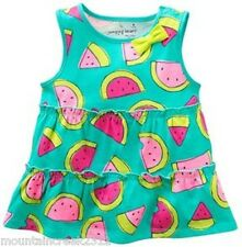 New JUMPING BEANS Girls Shirt Size 3 6 9 months WATERMELON Sleeveless Top Cotton