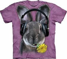 DJ Bunny Rabbit Hip Hop T-Shirt, Cool Bun ~ Headphones, Sm - 5X, The Mountain