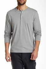 James Perse Long Sleeve Henley Shirt - Men Sizes 1, 4 - Heather Grey - BNWT