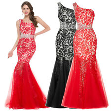 One Shoulder Lace Wedding Brial Evening Cocktail Party Formal Long Prom Dress