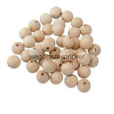 50pcs wood beads natural wooden ball unpainted round jewellery findings diy