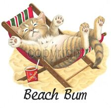 Cat Shirt, Beach Bum T-Shirt, Cute Kitty in Sun ~ Cup of Kitty Cola - Sm - 5X