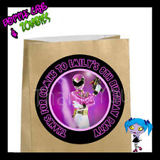 Power Rangers PINK Birthday Party Favor Goody Bag STICKERS - Personalized Labels