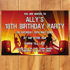 MAGNETIC Personalised Birthday Party Invites 18th 21st 30th 50th 60th -Nightclub