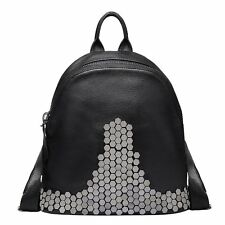 Vintage Leisure Rivet Leather Women Backpack College Style Outdoor Satchel