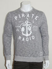 FRIEND OR FAUX Pirate Radio Logo Printed Long Sleeve Sweatshirt in Grey - XL