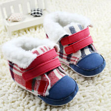 Toddler Baby Boys Girls Red plaid Snow Boots Crib Shoes First Shoes 0-18Months