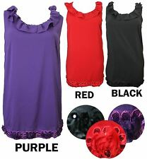NEW LADIES BLACK RED PURPLE RUFFLE SEQUIN FLORAL FRILL NECK TUNIC WOMENS DRESS