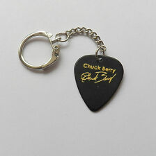 CHUCK BERRY printed autograph LEGEND plectrum guitar pick KEYCHAIN KEYRING