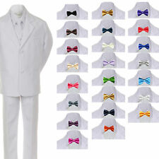 6pc Boy Teen Formal Wedding Party White Tuxedo Suit Vest Sets Satin Bow Tie 8-20