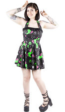 Hell Bunny Rockabilly Retro Punk I Heart Zombie Black Dress Halterneck Sundress