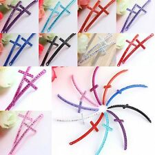 Crystal Rhinestone Cross Curved Side Ways Connectors Links Jewelry DIY Finding