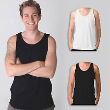 Mens Plain 100% Cotton Singlet Blank Basic Adults Tank Top T-Shirt | Size S-2XL