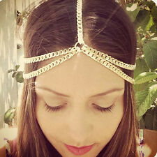 Women Fashion Boho Rhinestone Head Chain Jewelry Headband Head Piece Hair band