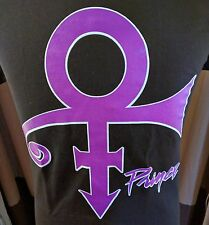 BRAND NEW PRINCE BLACK T SHIRT PURPLE LOGO & PRINCE SIGNATURE IN WHITE OUTLINE