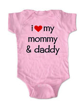 i love my mommy and daddy - cute baby one piece bodysuit, toddler, youth shirt