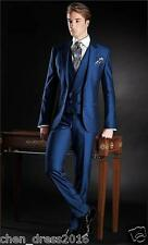 2016 New Custom 3 Piece Slim Fit Blue Best Men Groomsman Men's Wedding/Prom Suit