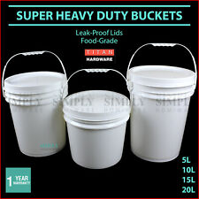Plastic Bucket with Lid Buckets White 10L 20L Handle Pail Bulk Capped Postage
