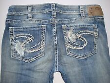New Silver Jeans TUESDAY Boot Cut Low-Rise Destroyed 60523A